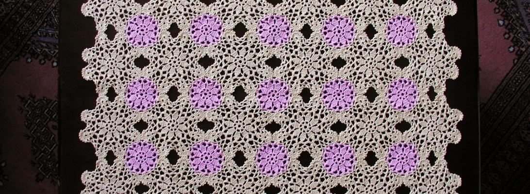 """Sunny Yellow Tea4Two Crochet Lace Tablecloth - Tovaglietta in pizzo crochet classico """"Tè in Giallo"""""""