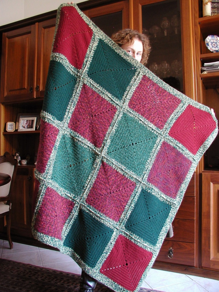 "HeavyDuty Afghan Blanket in Dark Colors - Coperta arredo multicolor ""Strapazzami e Spupazzami"""