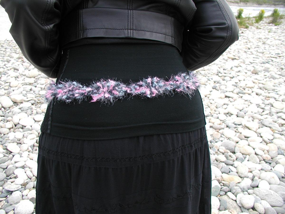 SilverPink Belt & Necklace with Murano Glass Beads – RosArgento cintura collana con perle in vetro di Murano