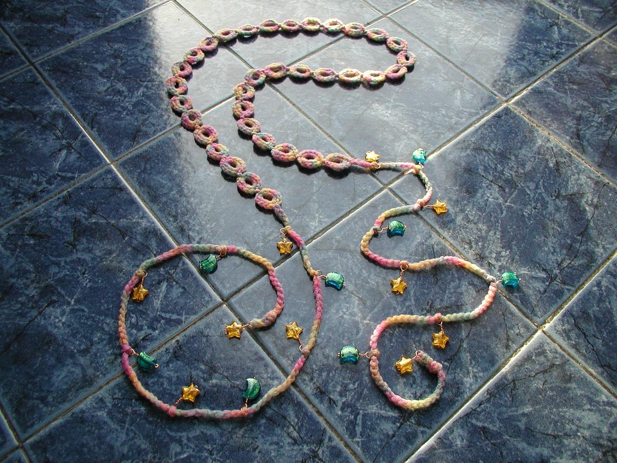"KoSmos Belt-and-Necklace with Murano glass beads - Cintura-collana con perle in vetro di Murano ""KoSmos"""