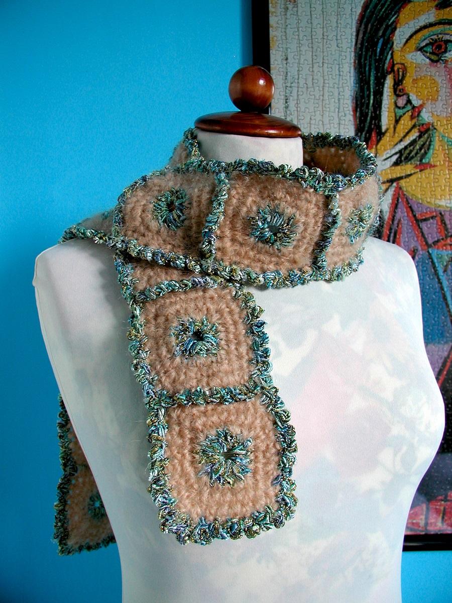 """BlueSquared Tie Scarf - Sciarpa cravatta """"Cornici Azzurre"""""""