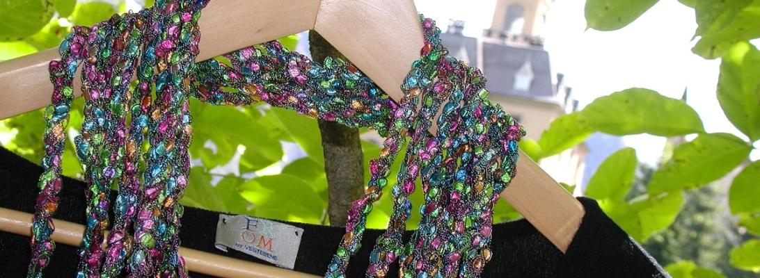 "HarlequinSeaweed Fancy Necklace - Sciarpa-collana fiber art ""AlgAllegra"""