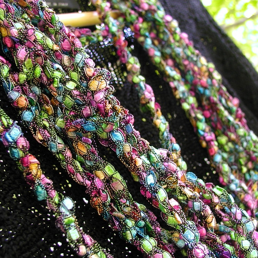 "HarlequinSeaweed Fancy Necklace - Sciarpa-collana fiber art ""AlgAllegra"""