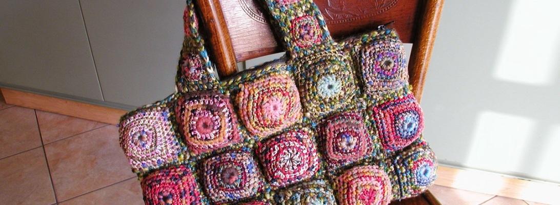 Multicolor Tote Bag in Shades of Green - Tote bag multicolor nei toni del verde