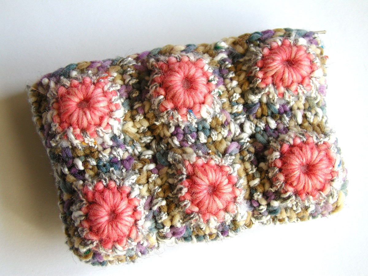 Coin Purse in Pink and Earthy Colors - Borsellino rosa e colori della terra