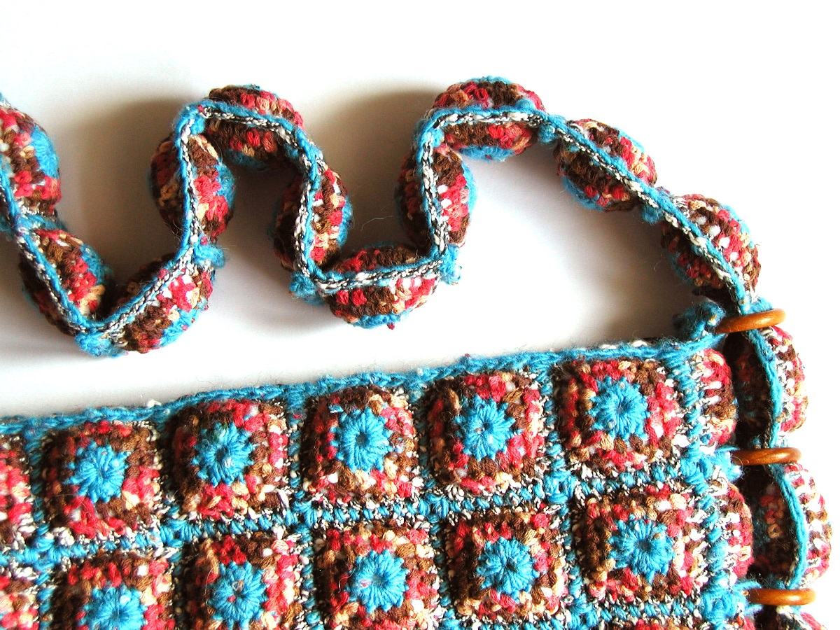 "Yvonne Messenger Bag Red, Turquoise and Chocolate - Borsa messenger ""Yvonne"" turchese, rosso e cioccolato"
