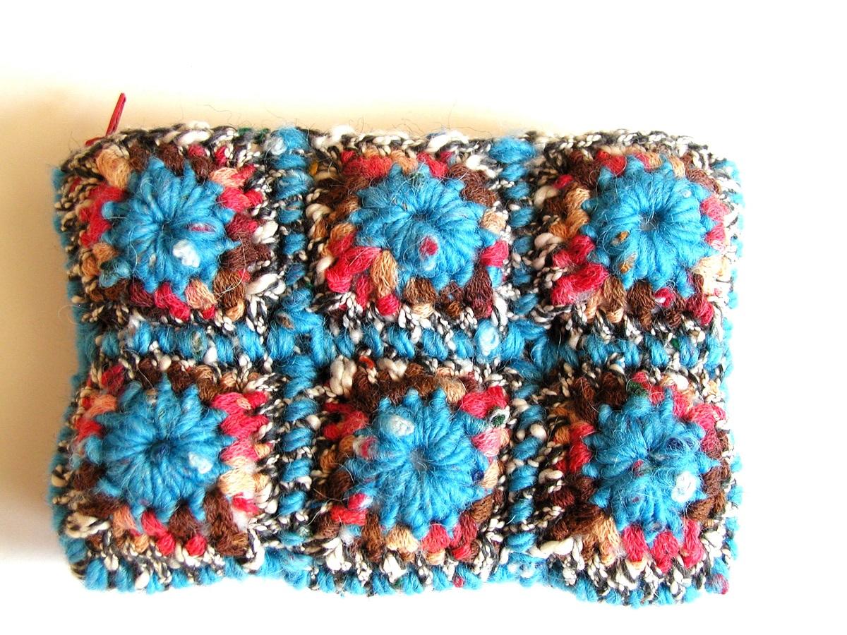 Coin Purse Turquoise, Red and Chocolate - Borsellino multicolor turchese, rosso e cioccolato