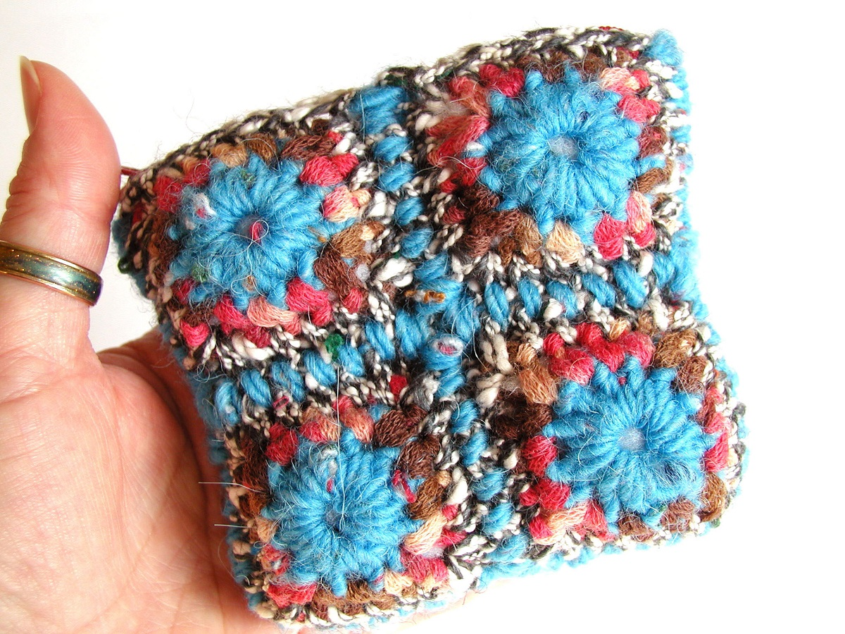 Coin Pouch Turquoise, Red and Chocolate - Portamonete multicolor turchese, rosso e cioccolato
