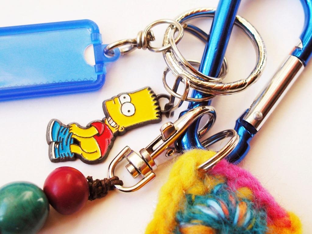 Bart Simpson Mooning Carabiner Keychain - Bart Mostraculo portachiavi a moschettone