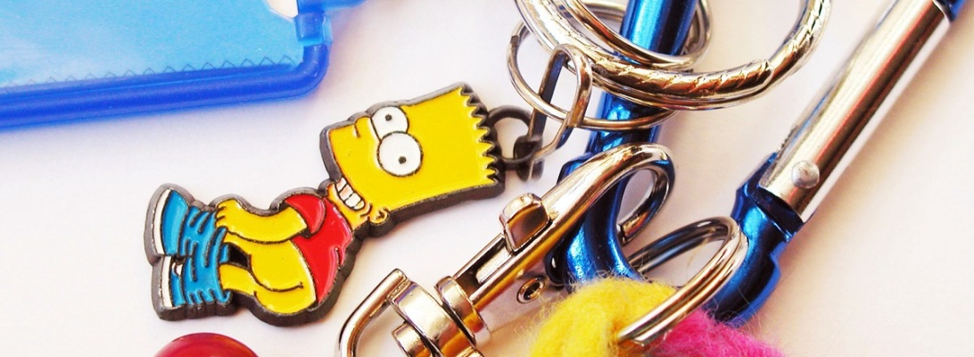 Bart Simpson Mooning Carabiner Keychain - Bart Mostraculo portachiavi a moschettone
