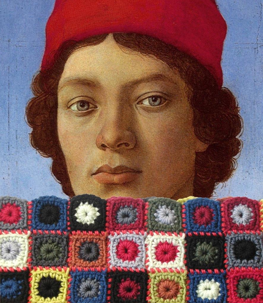 Portrait of a Young Man with Red Hat Unisex Neckwarmer – Ritratto di Giovane Uomo con Cappello Rosso scaldacollo unisex